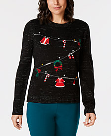 Karen Scott Holiday Embellished Sweater, Created for Macy's
