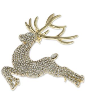 Gold-Tone Imitation Pearl Flying Reindeer Pin, Created For Macy'S