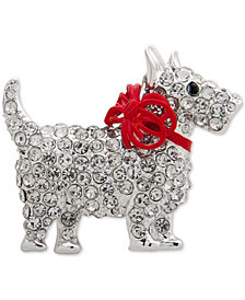Anne Klein Silver-Tone Crystal Scottie Dog Pin, Created for Macy's
