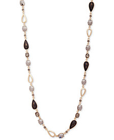 "Anne Klein Gold-Tone Multi-Stone 42"" Statement Necklace"