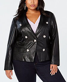 I.N.C. Plus Size Faux-Leather Blazer, Created for Macy's
