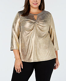 I.N.C. Plus Size Metallic Twist-Front Top, Created for Macy's