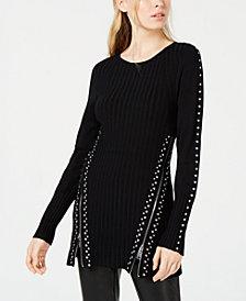 Bar III Zippered Studded Sweater, Created for Macy's