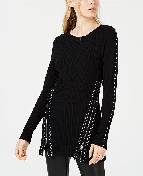 Bar III Zippered Studded Sweater, Created for Macy's