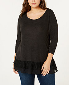 Belldini Plus Size Lace-Ruffle Top