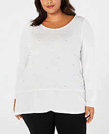 Belldini Plus Size Embellished Peplum Hacci Top