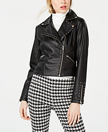 Bar III Studded Faux-Leather Moto Jacket, Created for Macy's