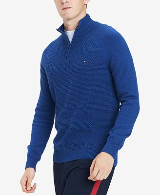 Tommy Hilfiger Mens Waffle Knit Quarter Zip Sweater Created For