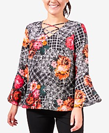 NY Collection Bell-Sleeve Lattice Top