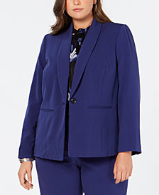 Nine West Plus Size Shawl-Collar Blazer