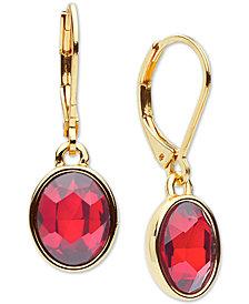 Anne Klein Gold-Tone Oval Stone Drop Earrings
