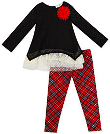 Rare Editions Baby Girls 2-Pc. Tunic & Plaid Leggings Set