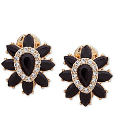 Anne Klein Gold-Tone Stone & Crystal E-Z Comfort Clip-On Stud Earrings