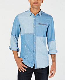 I.N.C. Men's Colorblocked Denim Shirt, Created for Macy's