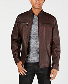 INC Men's Big & Tall Washed Faux Leather Jacket, Created for Macy's