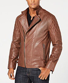 I.N.C. Men's Asymmetrical Full-Zip Leather Jacket, Created for Macy's