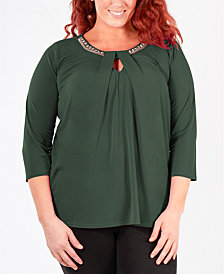 NY Collection Plus Size Bead-Embellished Top