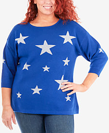 NY Collection Plus Size Metallic-Star Sweater