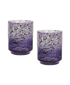 Plum Ombre Hurricane Flared Vases- Set of 2