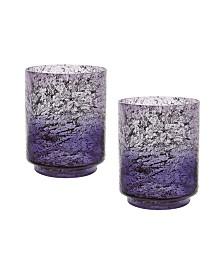 Plum Ombre Hurricane Flared Vases- Set of 2