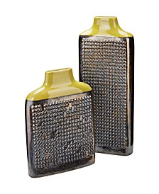 Lawn Green Dotted Relief Rectangular Vases- Set of 2