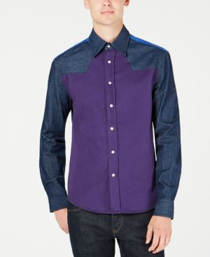 CALVIN KLEIN JEANS Calvin Klein Colorblock Western Shirt in Olivia Rinse