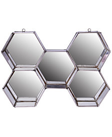 Nico Hexagon Metal And Glass Wall Mirror Display