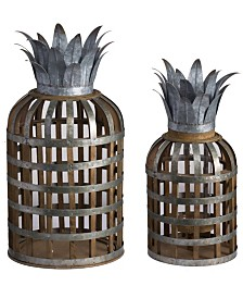 Samana Wood And Metal Pineapple Lanterns, Set of 2