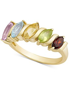 Multi-Gemstone Marquise Band (1-1/10 ct. t.w.) in 18k Gold-Plated Sterling Silver (Also Available in Emerald, Ruby or Sapphire)