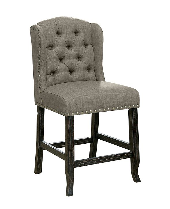 Furniture of America Colette Tufted Upholstered Pub Chair (Set of 2)