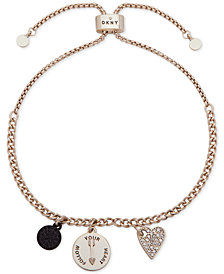 DKNY Gold-Tone Pavé Follow Your Heart Slider Bracelet, Created for Macy's