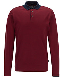 BOSS Men's Cotton Long-Sleeve Polo
