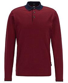 BOSS Men's Cotton Long-Sleeve Polo