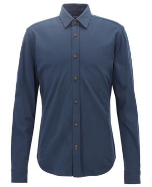 HUGO BOSS Boss Men'S Slim-Fit Cotton Shirt in Dark Navy