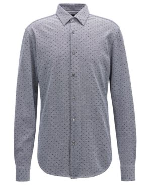 HUGO BOSS Boss Men'S Slim-Fit Printed Cotton Shirt in Dark Navy