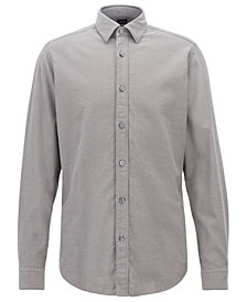 BOSS Men's Regular/Classic-Fit Cotton Flannel Shirt