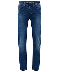 BOSS Men's Tapered-Fit Distressed Denim Jeans