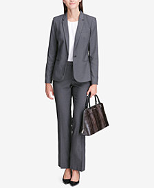 Calvin Klein Pinstriped One-Button Blazer & Pants
