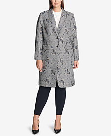 Calvin Klein Printed Double-Breasted Jacket, Pleated Top & Straight-Leg Pants