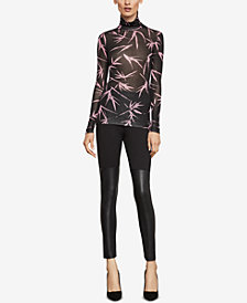 BCBGMAXAZRIA Bamboo Branches Printed Turtleneck Top
