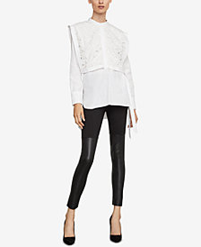 BCBGMAXAZRIA Embroidered Lilies Shirt
