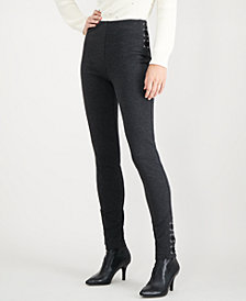 I.N.C. Skinny Lace-Up Ponté-Knit Pants, Created for Macy's