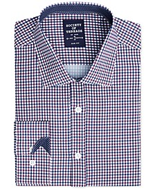 Men's Slim-Fit Performance Stretch Small Check Dress Shirt