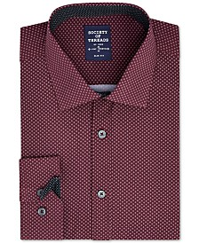 Society of Threads Men's Slim-Fit Performance Stretch Diamond  Dress Shirt