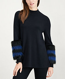 Alfani Petite Faux-Fur Trim Sweater, Created for Macy's