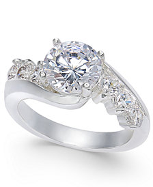 Charter Club Cushion-Cut Crystal Stone & Pavé Twist Ring, Created for Macy's
