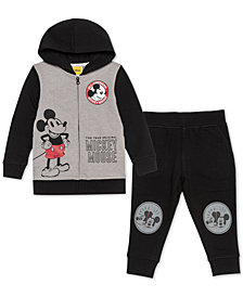 Disney Little Boys 2-Pc. Mickey Mouse Full-Zip Hoodie & Joggers Set