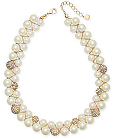 "Charter Club Gold-Tone Pavé Bead & Imitation Pearl Double-Row Collar Necklace, 17"" + 2"" extender, Created for Macy's"