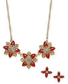 "Charter Club Gold-Tone Crystal and Stone Flower Collar Necklace & Stud Earrings Set, 17"" + 2"" extender, Created for Macy's"