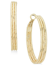 """Charter Club Large Gold-Tone Triple-Row Textured Hoop Earrings, 1.6"""", Created for Macy's"""